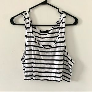 Talula    Black/white striped crop top